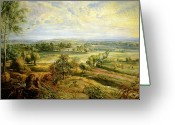 Rubens Painting Greeting Cards - An Autumn Landscape with a view of Het Steen in the Early Morning Greeting Card by Rubens