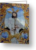 Jesus Christ Icon Greeting Cards - An azulejo ceramic tilework depicting Jesus Christ Greeting Card by Sami Sarkis