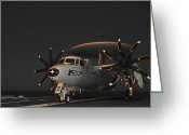 Chained Greeting Cards - An E-2c Hawkeye Is Chained Greeting Card by Stocktrek Images