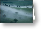 Mountain Vineyards Greeting Cards - An Early Morning Mist Rolls Over Hills Greeting Card by Joel Sartore