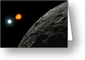 Binary Stars Greeting Cards - An Eclipsing Binary Star Known Greeting Card by Ron Miller