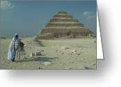 African Heritage Photo Greeting Cards - An Egyptian Man And Donkey At The Step Greeting Card by Richard Nowitz