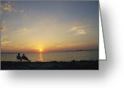 Atlantic Beaches Greeting Cards - An Elderly Couple Enjoy Watching Greeting Card by Klaus Nigge