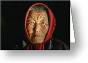 Ethnic And Tribal Peoples Greeting Cards - An Elderly Kazakh Woman In Western Greeting Card by David Edwards