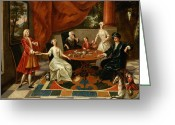 Posh Painting Greeting Cards - An Elegant Family Taking Tea  Greeting Card by Gavin Hamilton