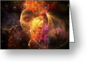 Twinkle Greeting Cards - An Emission Nebula Out In Space Forming Greeting Card by Corey Ford