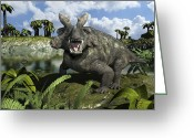 Animal Themes Digital Art Greeting Cards - An Estemmenosuchus Mirabilis Stands Greeting Card by Walter Myers