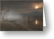 Sunset Light Greeting Cards - an evening at the Lake Maggiore Greeting Card by Joana Kruse