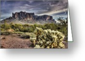 The Supes Greeting Cards - An Evening at the Superstitions Greeting Card by Saija  Lehtonen