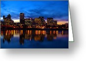 Portland Greeting Cards - An Evening In Portland Greeting Card by Brian Bonham