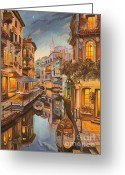 Venice Waterway Greeting Cards - An Evening in Venice Greeting Card by Charlotte Blanchard