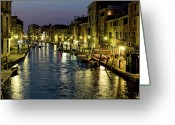 Hustle Bustle Greeting Cards - An Evening in Venice Greeting Card by Michelle Sheppard