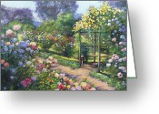 Garden Pathway Greeting Cards - An Evening Rose Garden Greeting Card by David Lloyd Glover