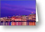 Basel Greeting Cards - An Evening View over Lake Geneva from the City Greeting Card by Chris Smith