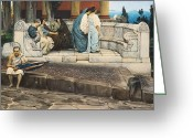Sat Greeting Cards - An Exedra Greeting Card by Sir Lawrence Alma-Tadema
