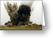 Iraq Greeting Cards - An Explosion Greeting Card by Stocktrek Images