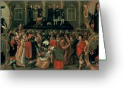 Royalty Greeting Cards - An Eyewitness Representation of the Execution of King Charles I Greeting Card by John Weesop