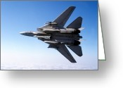 Armament Greeting Cards - An F-14a Tomcat With Missile Armament Greeting Card by Dave Baranek