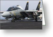 Fighter Jets Greeting Cards - An F-14d Tomcat Launches Off The Flight Greeting Card by Gert Kromhout