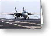Fighter Jets Greeting Cards - An F-14d Tomcat Makes An Arrested Greeting Card by Gert Kromhout