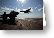 Aircraft Carrier Greeting Cards - An F-14d Tomcat Prepares To Make An Greeting Card by Stocktrek Images