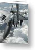 Iraq Greeting Cards - An F-15 E Strike Eagle Receives Fuel Greeting Card by Stocktrek Images