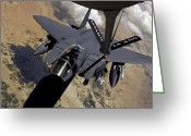 Tanker Greeting Cards - An F-15 Strike Eagle Prepares Greeting Card by Stocktrek Images