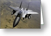 Air-to-air Greeting Cards - An F-15e Strike Eagle Aircraft Greeting Card by Stocktrek Images