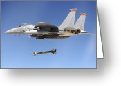 Smart Greeting Cards - An F-15e Strike Eagle Drops A Gbu-28 Greeting Card by Stocktrek Images
