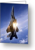 Fighter Jets Greeting Cards - An F-15e Strike Eagle Pops Flares Greeting Card by Stocktrek Images