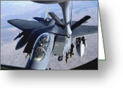 Fighter Jets Greeting Cards - An F-15e Strike Eagle Refuels Over Iraq Greeting Card by Stocktrek Images