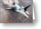 Arid Climate Greeting Cards - An F-16 Falcon In Flight Greeting Card by Stocktrek Images