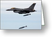 Smart Greeting Cards - An F-16 Fighting Falcon Drops Two Joint Greeting Card by Stocktrek Images