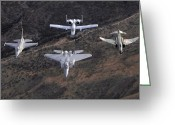 Gunship Greeting Cards - An F-16 Fighting Falcon, F-15 Eagle Greeting Card by Stocktrek Images