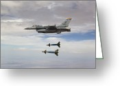 Paveway Greeting Cards - An F-16 Fighting Falcon Releases Two Greeting Card by HIGH-G Productions