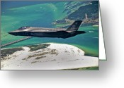 Us Air Force Greeting Cards - An F-35 Lightning Ii Flies Over Destin Greeting Card by Stocktrek Images