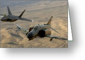 Raptor Photography Greeting Cards - An F-4 Phantom And An F-22a Raptor Fly Greeting Card by Stocktrek Images