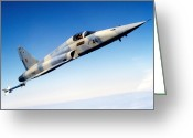Armament Greeting Cards - An F-5e Tiger Ii In Flight Greeting Card by Dave Baranek