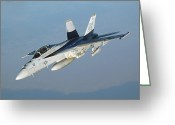 F-18 Greeting Cards - An Fa-18f Super Hornet Conducts Greeting Card by Stocktrek Images