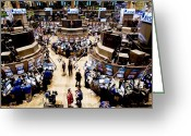 Finance Greeting Cards - An High Angle View Of The New York Greeting Card by Justin Guariglia
