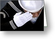 Guards Greeting Cards - An Honor Guard Member Renders A Salute Greeting Card by Stocktrek Images