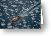 Winter Views Greeting Cards - An Icebreaker Ship Cuts Through Ice Greeting Card by Medford Taylor