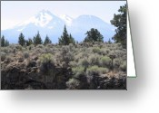 Sacred Earth Greeting Cards - An Idea of Mount Shasta Greeting Card by Dagmar Ceki