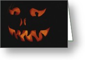 Decoration And Ornament Greeting Cards - An Illuminated Jack-o-lantern Greeting Card by Stephen Sharnoff
