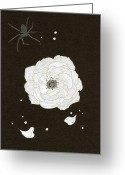 Spider Flower Greeting Cards - An Illustration Of A White Flower And Spider Greeting Card by Hana Asami