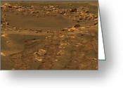 Gully Greeting Cards - An Impact Crater In The Meridian Planum Greeting Card by Stocktrek Images
