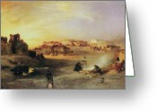 Pueblos Greeting Cards - An Indian Pueblo Greeting Card by Thomas Moran