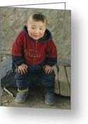 Hairstyles Greeting Cards - An Informal Portrait Of A  Kazakh Child Greeting Card by David Edwards