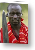 African Warrior Greeting Cards - An Informal Portrait Of A Masai Warrior Greeting Card by Michael Melford