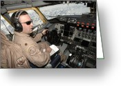 Control Greeting Cards - An Instructor Pilot Flies A Kc-135tr Greeting Card by Stocktrek Images